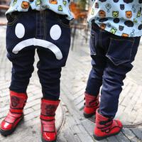 Children's clothing child 2013 three-dimensional pocket smiley double layer plus velvet denim pants male female child jeans
