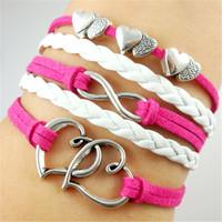 Fashion women infinity multilayer three hearts beads love bracelet
