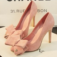 free shipping single shoes 2014 spring new high heel shoes bow princess pointed stiletto heels shoes 4 colors woman pumps