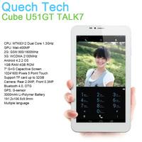 "3G WCDMA 7"" Phone Call Tablet Cube U51GT W TALK7X Android 4.2 MTK8312 Dual Core 1GB DDR3 RAM 4GB Storage BT Camera GPS Wholesale"