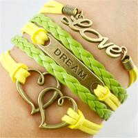 European fashion jewelry wholesale selling infinity Heart-shaped symbol sweet factory direct Leather bracelet