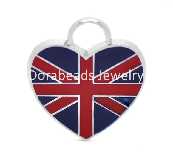 "hot- Silver Tone Enamel UK Flag Love Heart Charm Pendants 22x20mm(7/8""x3/4""), 20pcs (B17442)(China (Mainland))"