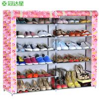 Simple shoe hanger double cotton-made shoes cabinet home combination shoe