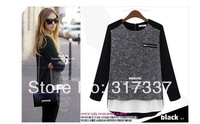 Women's 2014 spring new women's long sleeve chiffon blouse stitching loose sweater