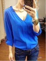 New fashion women's blouses casual loose chiffon 3 colors shirt Free shipping Q003
