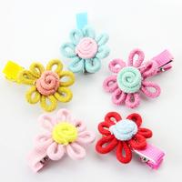 Free shipping 20pcs/lot Children hair accessories Beautiful flower princess hair clip Wool baby girls Hairgrip 2015 new spring