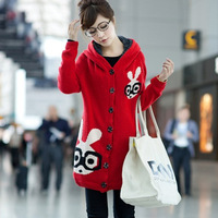 Autumn and winter women loose long rabbit design plus velvet thickening sweater outerwear female