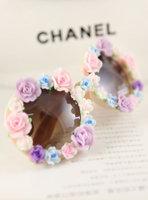 Handmade polymer clay rose flower sunglasses box vintage women's beach sunglasses personality sunglasses