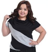 Stripe Patch Big Size Women Short T Shirt Female Plus Size Clothing Loose Tops Korean 2014 Summer Slim Tees 2