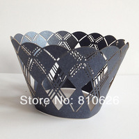 12pcs Free shipping Laser cut Preppy Blue Navy Argyle Laser Cupcake Wrappers case liner mold / Theme Party Cake Decoration