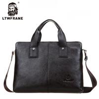 Ltwfrane genuine leather business bag one shoulder bag men boutique male handbag first layer of cowhide briefcase