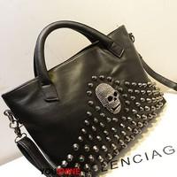 Free shipping popular skull rivet punk style women shoulder bag women leather totes bag
