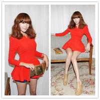 Fashion Women Spring Puff Long Sleeve Cute V-Neck Tops Blouse T-Shirt Plus Size S,M,L,XL