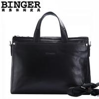Accusative genuine leather man bag male brief casual horizontal cross-body handbag spring commercial briefcase bag