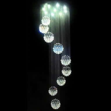 Lâmpada escada longo luz pingente do tipo híbrido luz pingente escada espiral lâmpada de cristal breve sala lâmpadas lâmpada luzes da sala(China (Mainland))