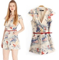 New 2014 asoss same style Fashion Print jumpsuit women with Belt