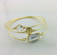 Set of 3 Free Shipping Rhinestone Bangle Bracelet, Gold Rhinestone Monogram Bangle Bracelet, women's  Bangles Bracelet set