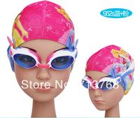 Free shiping Children's cartoon ear cap senior Lycra swimming cap + Swimming goggles Glasses with UV+antifog cartoon girls