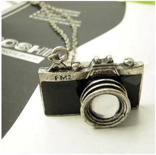 David jewelry wholesale X243 Mother's Day Gift Vintage Jewelry Fashion Hot Sale Lovely Blue Black Enamel Camera Pendant Necklace(China (Mainland))