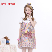 2014 summer maternity dress new cotton cute print pregnancy dress beautiful party one-piece dres