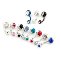 Free shopping,10 Pcs/lot,2014 Hot sale Fashion Multicolor Rhinestone Belly Rings Body Jewelry Piercing,Belly Ring Surgical Steel