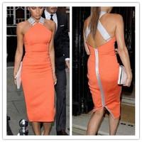 New 2014 Women Zipper Orange Halter Knee-Length Bodycon Pencil Dresses,Ladies Cross Back Sexy Slim Party Eveing Dress,S-XL
