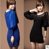 2014 spring fashion sexy women chiffon patchwork slim hip elegant autumn and winter one-piece dress