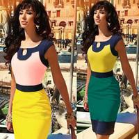 2014 New Womens Fshion Colorblock Celeb Style Keyhole Bodycon Stretch Party Pencil Knee-Length Dress Plus Size: S-XL