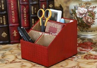 Free shipping Eur Style Red Crocodile Pattern PU Leather Desktop Pen Holder Cup Pen Pot Holder Pen Container Storage Box-TX