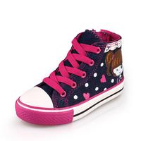2015 shoes  expert skills high female child denim canvas shoes fashion popular