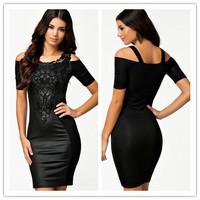 2014 New European Fashion Women Leather Black Bodycon Bandage Dress Ladies Cocktail Knee-Length with Embroidery Plus Size S-XXL