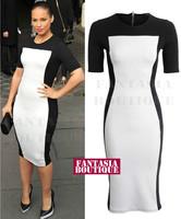 New Classic Women's Black and White Vintage Short Sleeve O-Neck Slim Bodycon Zipper Knee-Length Evening Dress Plus Size S-XL