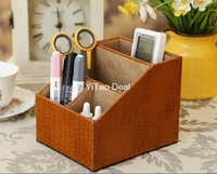 Free shipping Eur Style Brown Crocodile Pattern PU Leather Desktop Pen Holder Cup Pen Pot Holder Pen Container Storage Box-TX