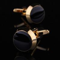 Black Enamel Round Cufflinks Men Jewelry Unique Wedding Groom Men Cuff Links Business Gold Cufflinks For Mens