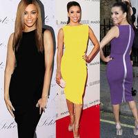 (Black,Purple,Yellow) Newest Fashion Womens' Sleeveless O-Neck Elegant Casual Full Zipper Cocktail Knee-Length Dress S,M,L,XL