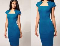 Women Elegant Blue Fashion Square Collar Puff Sleeve Slim Wiggle Pencil Dress,Elegant Stretchy Knee-Length Dress S-XL