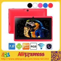 10 pcs/lot DHL Shipping Factory Wholesale Q88 Tablet PC 7 inch Allwinner A23 Dual Core CPU Dual Camera Big Battery 10 Colors