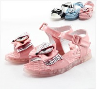 2014 girls sandals Candy color between transparent diamond princess goosegrass bottom fashion shoes 32 to 37 yards
