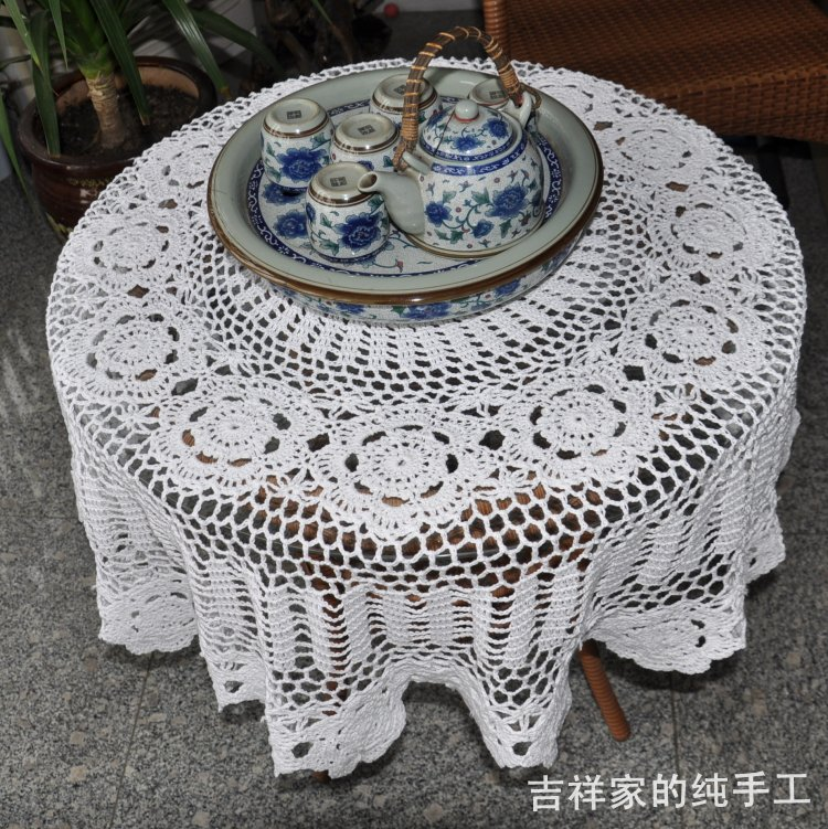 Free Shipping rustic handmade hook needle flower circle table cloth 100% cutout cotton tablecloth white(China (Mainland))