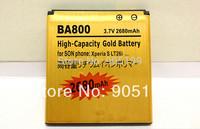 High Quality Brand New 2680Mah High Capacity Gold Battery BA800 For Sony Ericsson Xperia V LT25C LT25i Free Shipping JB-802