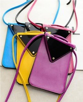 Personality cheap promotion small shoulder bag 2014 European and American women multicolor special triangular mirror handbags