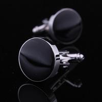 Black Enamel Round Cufflinks Men Jewelry Unique Wedding Groom Men Cuff Links Business Silver Cufflinks