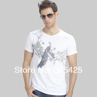 2014 New Summer Men Shirt,Peacock Pattern O-neck Short Sleeve Cotton T-shirt For Men Casual Tees Shirts