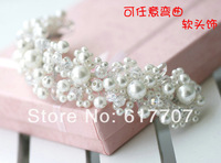 2014 New Free Shipping Handmade Pearls Beads Handband Tiara Crown Bridal Hair Accessories Hair jewelry Wedding Accessories