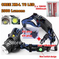 2014 NEW CREE LED Head light Cree XM-L T6 LED 2000LM cree led Headlamp cree light +AC Charger/Car charger/2x18650 battery