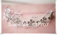2014 New Free Shipping Handmade Rhinestone Crystal Lace Handband Bridal Hair Accessories Hair jewelry Wedding Accessories