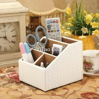 Free shipping Eur Style White Knitting PU Leather Desktop Pen Holder Cup Pen Pot Holder Pen Container Storage Box-TX