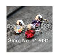 Korea no pierced ear clip crystal heart ear cuffs charms earring personality on earrings 2014 LM-C250 free shipping girl love