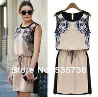 2014 spring New fashion Europe  dress new 2013 casual women vestidos plus size retro woman summer Ethnic print dress 8498