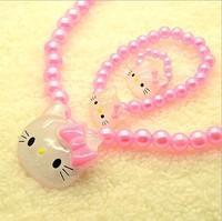 Hello kitty cat children girls pearl jewelry sets.girls necklace bracelet ring sets,girls children's favorite jewelry gift